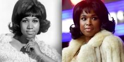 (Left) (CIRCA 1963: Soul singer Aretha Franklin poses for a portrait in circa 1963. (Right) Jennifer Hudson seen filming on location for 'Respect' at Rockefeller Center on November 8, 2019 in New York City.